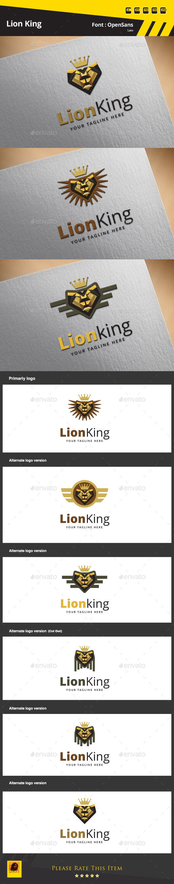 Lion King Logo Template - Animals Logo Templates