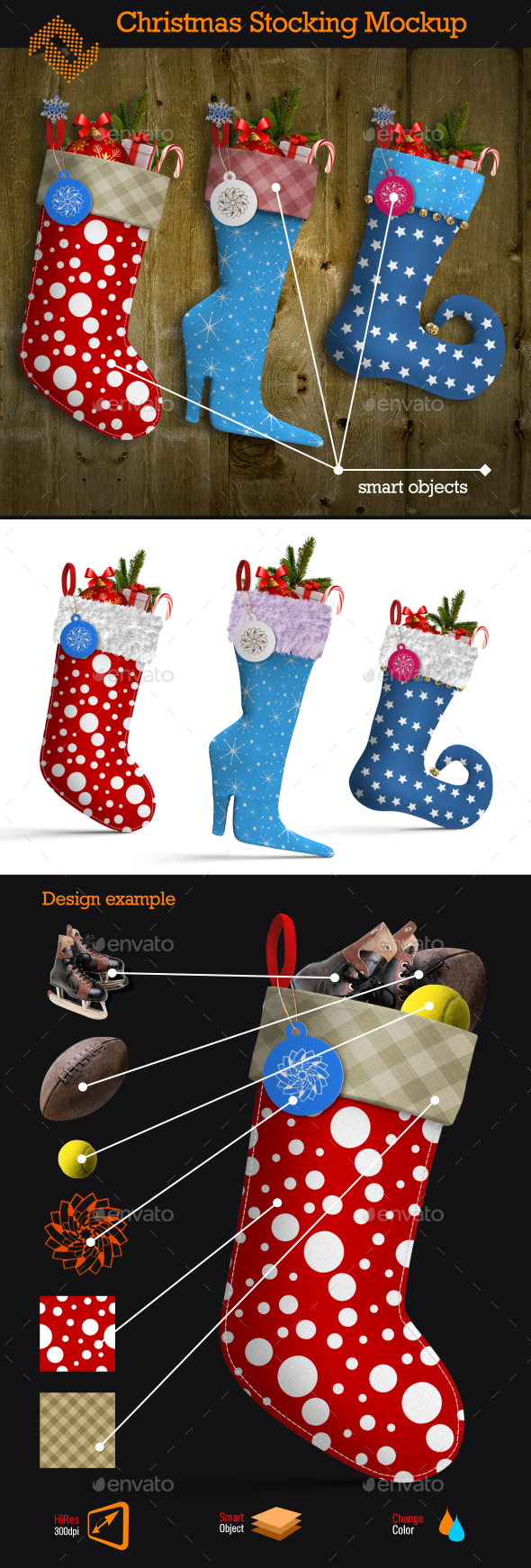 Christmas Stocking Mockup - Product Mock-Ups Graphics