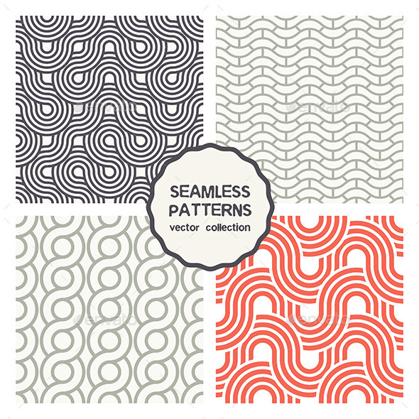 Vector Set of Four Geometric Seamless Patterns - Patterns Decorative