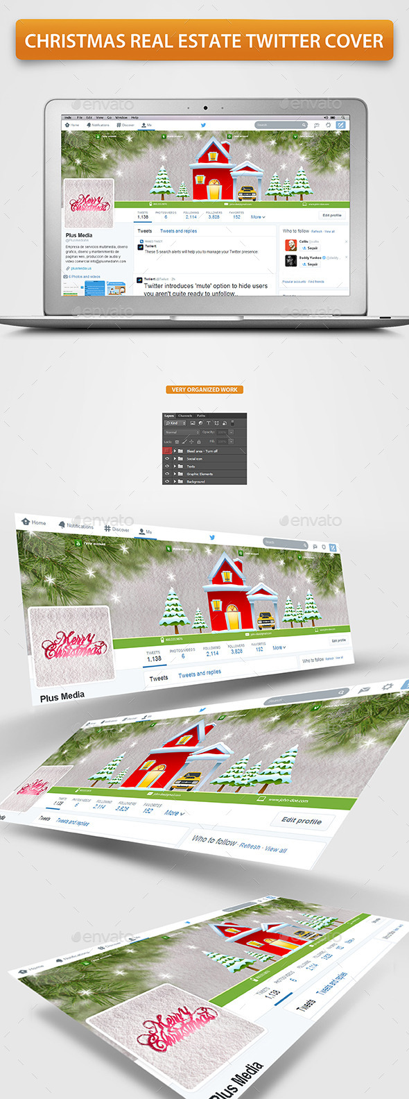 Christmas Real Estate Twitter Cover - Twitter Social Media