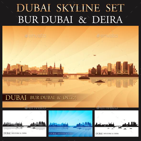 Dubai Deira and Bur Dubai Skyline Set - Buildings Objects