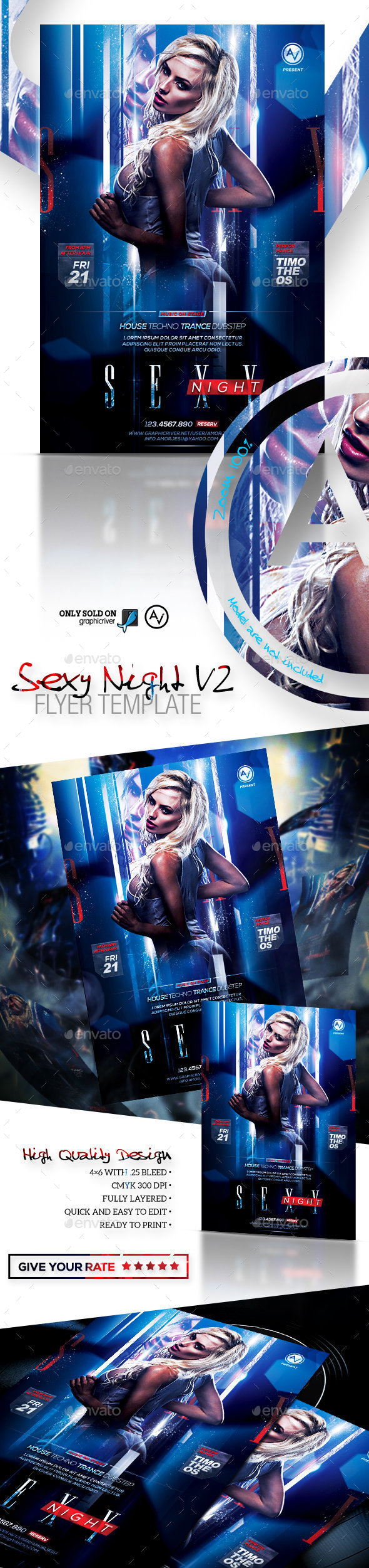 Sexy Night Flyer Template V2 - Clubs & Parties Events