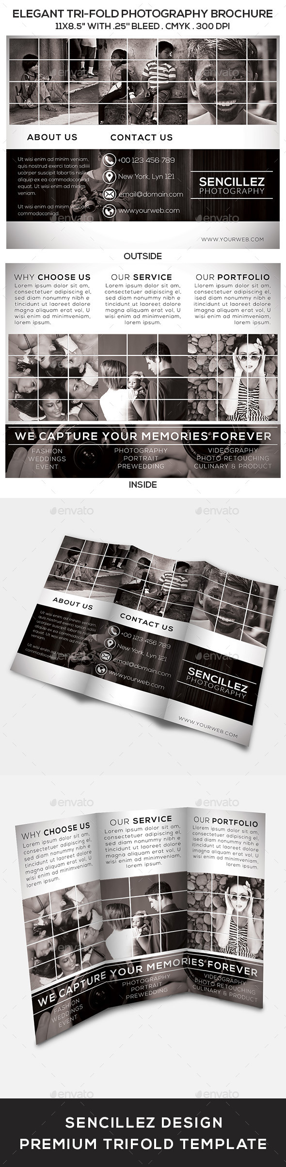 Elegant Tri-Fold Photography Brochure - Corporate Brochures