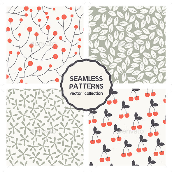 Vector Set of Four Floral Seamless Patterns - Patterns Decorative