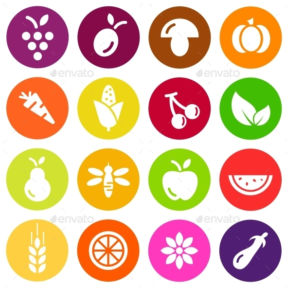 Vegetables and Fruits Vector Flat Icons - Food Objects