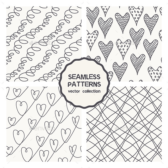 Vector Set of Four Linear Doodle Seamless Patterns - Patterns Decorative