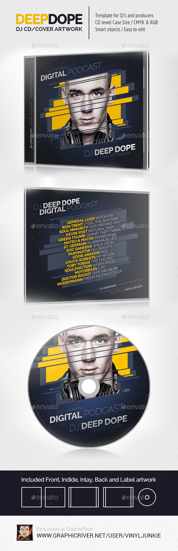DeepDope - DJ Mix CD Cover Artwork PSD