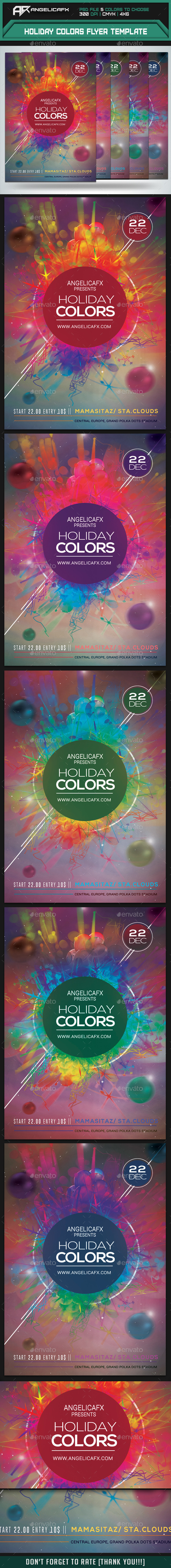 Holiday Colors Flyer Template - Clubs & Parties Events