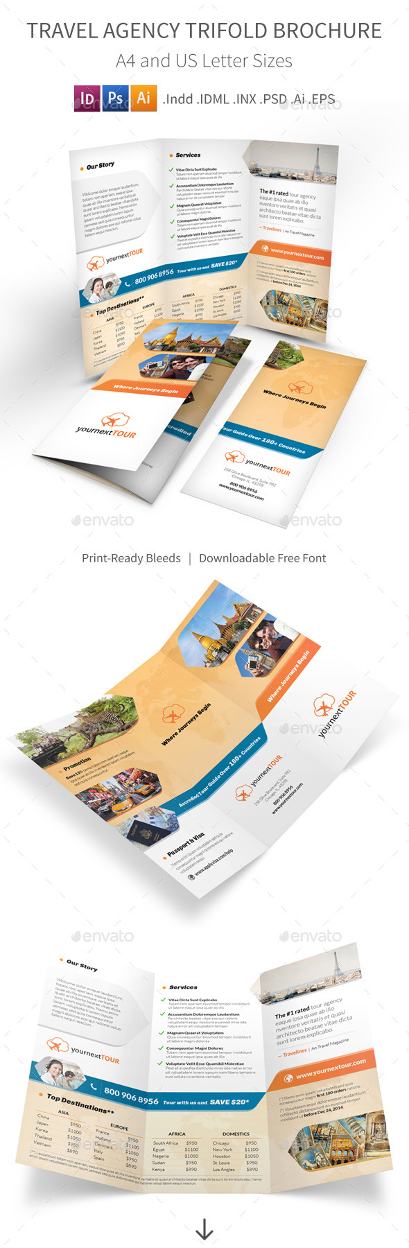 Travel Agency Trifold Brochure - Informational Brochures