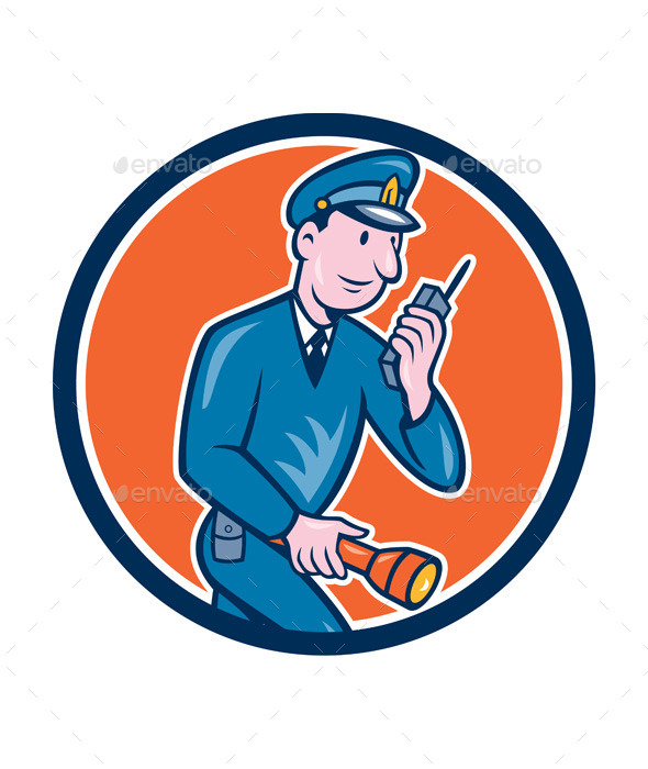Policeman with Radio and Flashlight Retro Circle  - Sports/Activity Conceptual