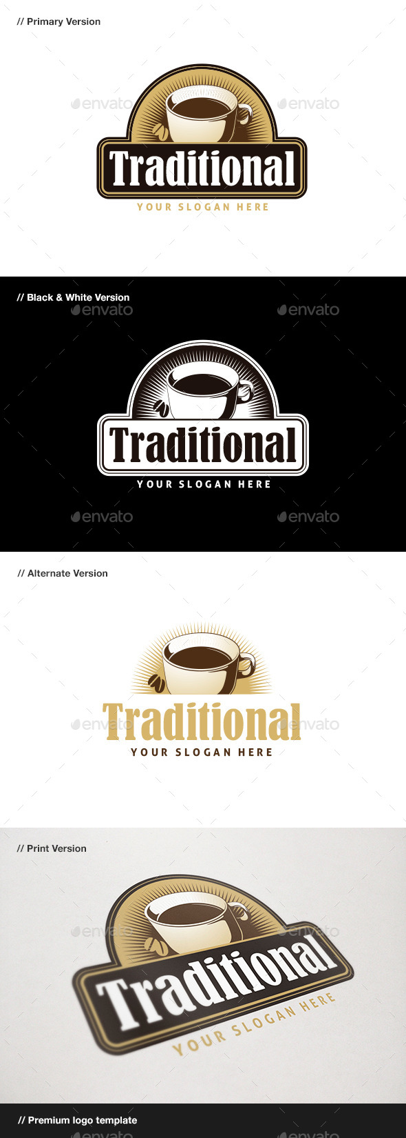 Traditional Coffee Logo - Food Logo Templates