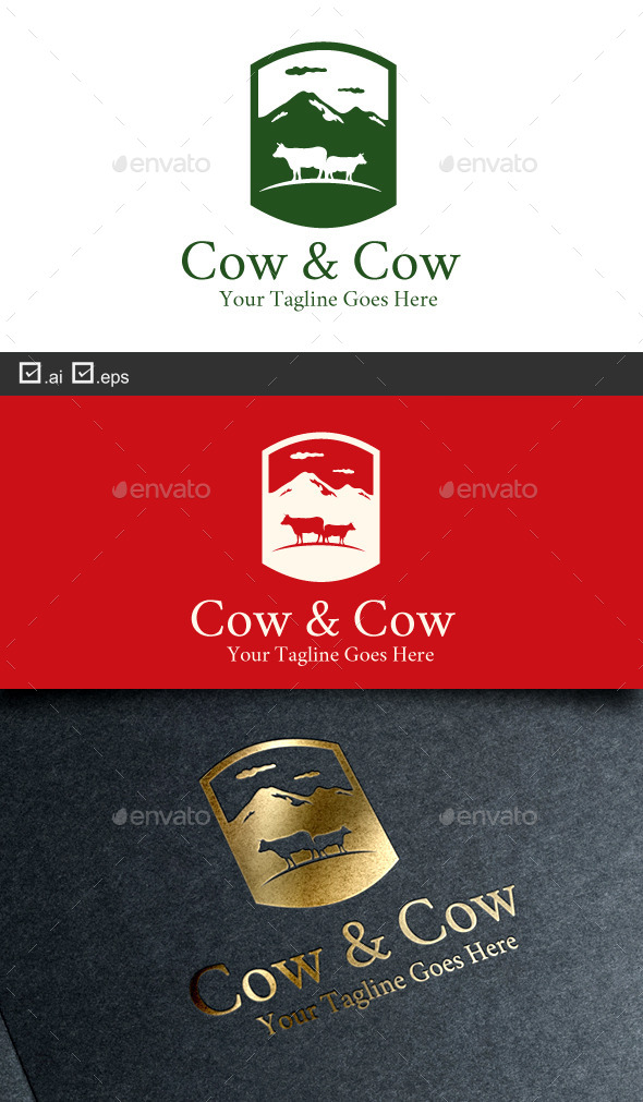 Cow and Cow - Animals Logo Templates