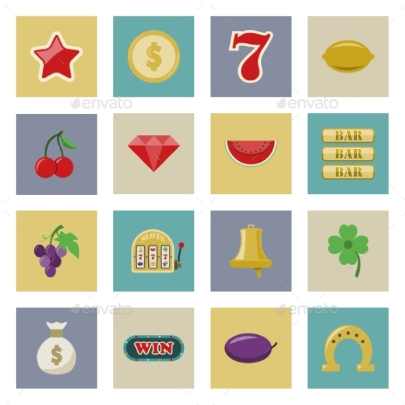 Slot Machine and Gambling Flat Icon Set - Food Objects