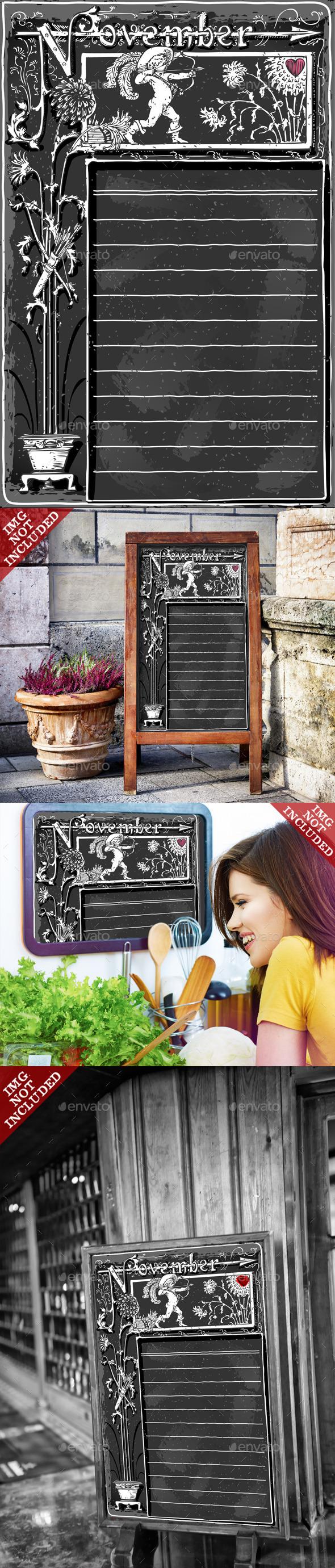 Vintage November Page with Cupid on Blackboard - Backgrounds Decorative