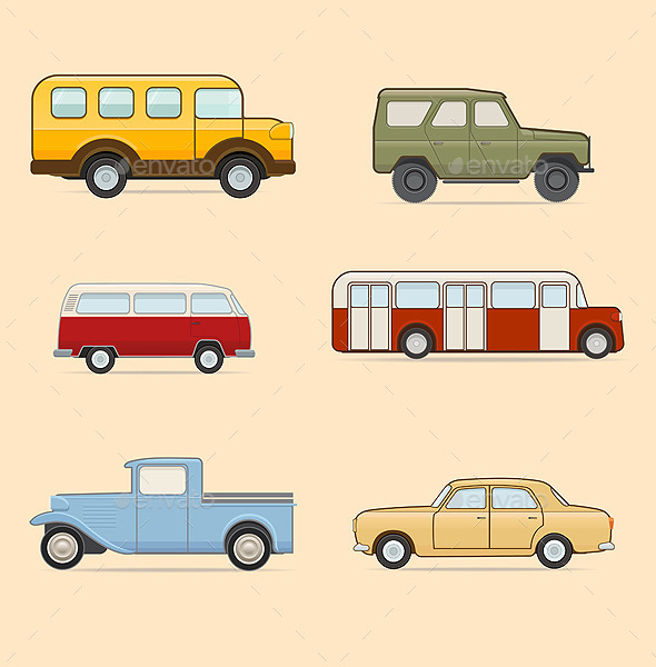 Retro Transport Set - Vectors