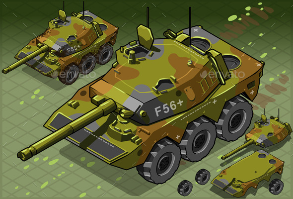 Isometric Tank Two Version - Objects Vectors