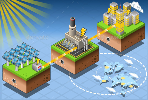 Isometric Infographic Energy Harvesting Diagram - Buildings Objects