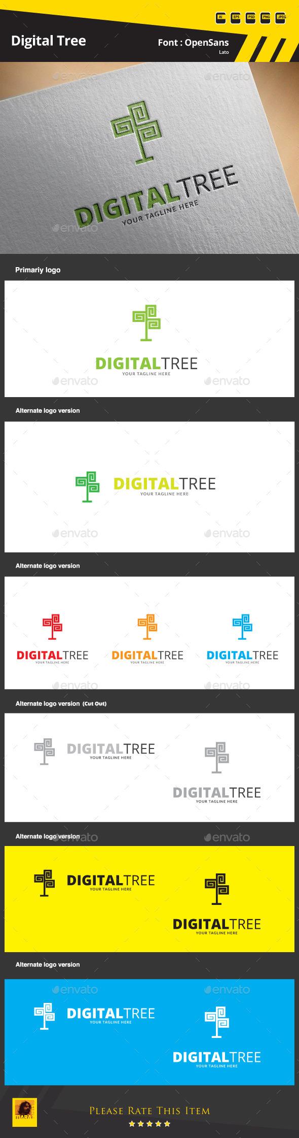 Digital Tree Logo Template - Symbols Logo Templates