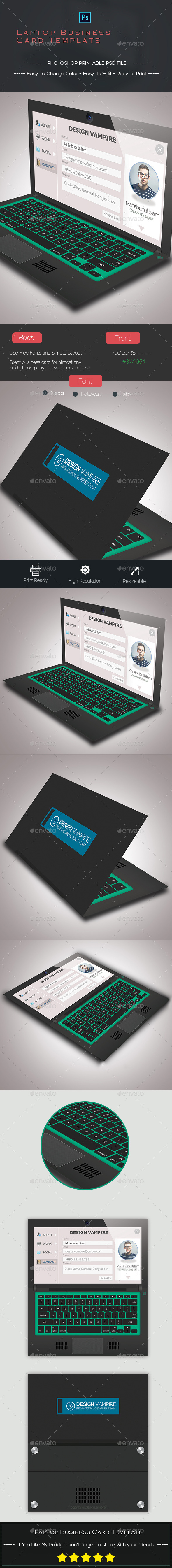 Laptop Business Card Template  - Creative Business Cards
