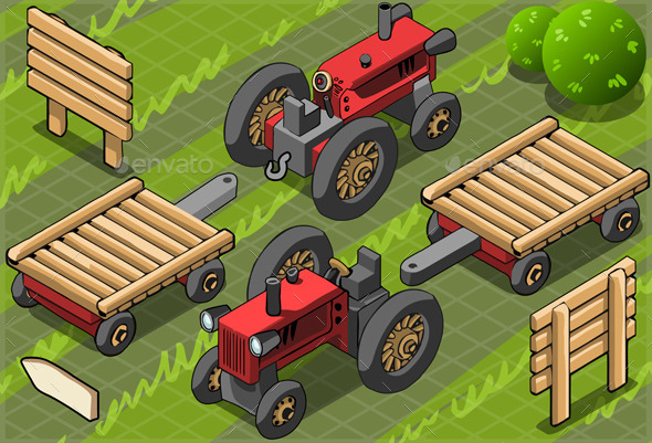 Isometric Red Farm Tractor in Two Positions - Nature Conceptual