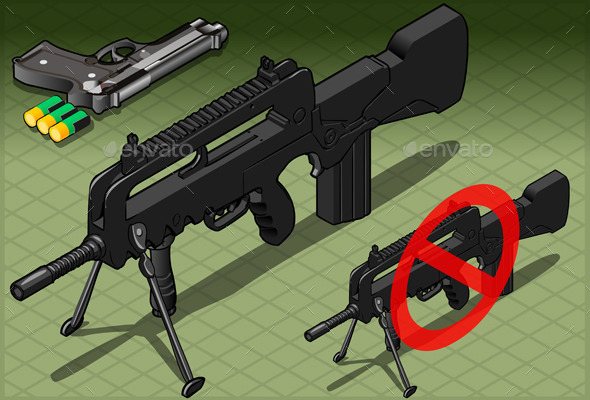 Isometric Submachine and Pistol in Front View - Objects Vectors
