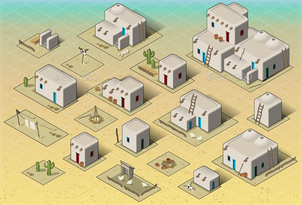Isometric Western Rural Pueblo Basic Set Tiles - Buildings Objects
