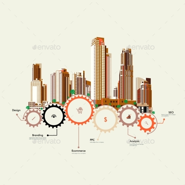 Skyscrapers Stand on Gears - Buildings Objects