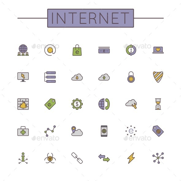Vector Colored Internet Line Icons - Web Technology