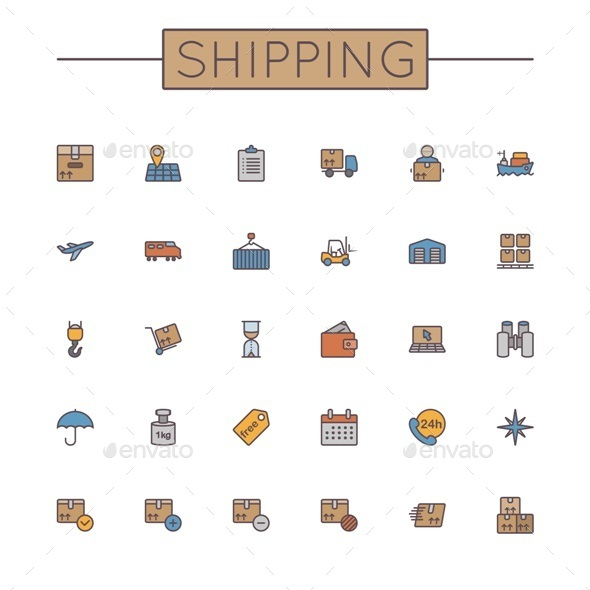 Vector Colored Shipping Line Icons - Industries Business