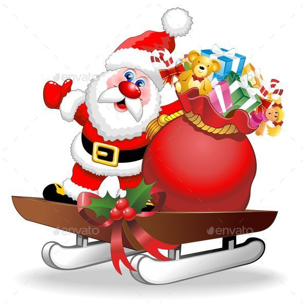 Santa Cartoon and Gifts on Christmas Sleigh - Christmas Seasons/Holidays