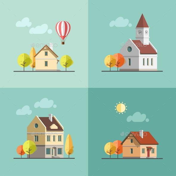 Urban Landscape Set of Buildings - Buildings Objects