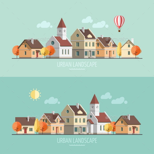 Autumn Cityscape. - Buildings Objects