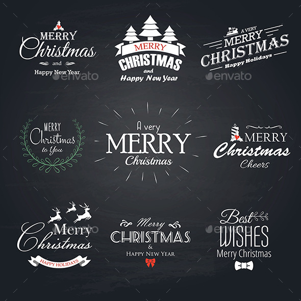 Christmas Labels Set - New Year Seasons/Holidays