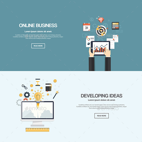 Flat Designed Banners - Business Conceptual