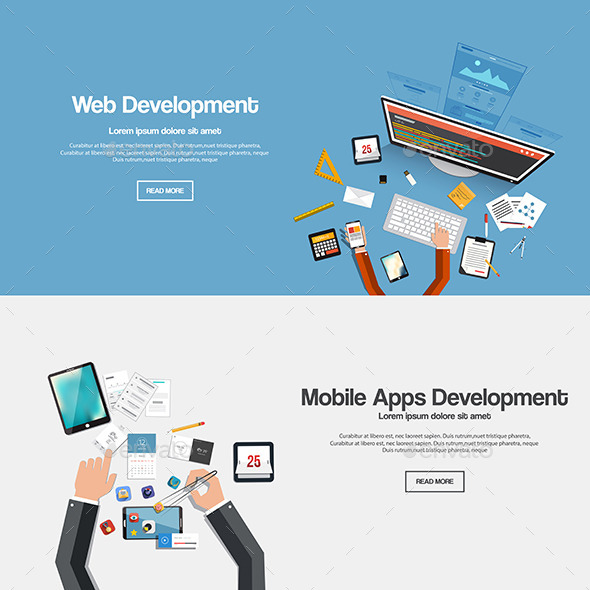 Flat Designed Banners - Technology Conceptual