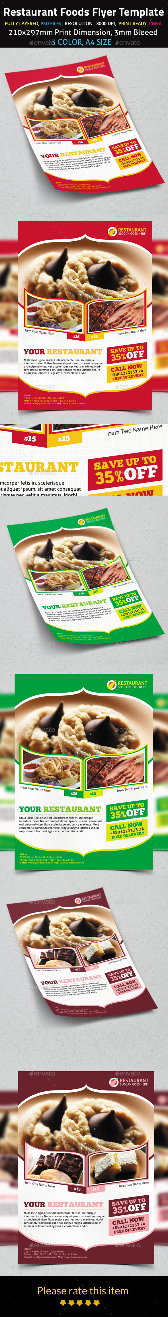 Restaurant Foods Flyer Template - Restaurant Flyers