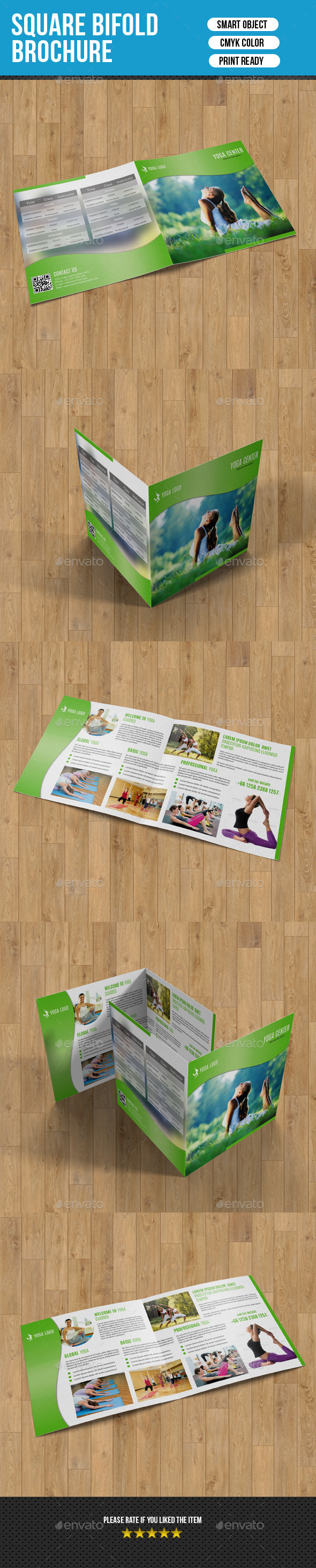 Square Bifold for Yoga Center-V03 - Corporate Brochures