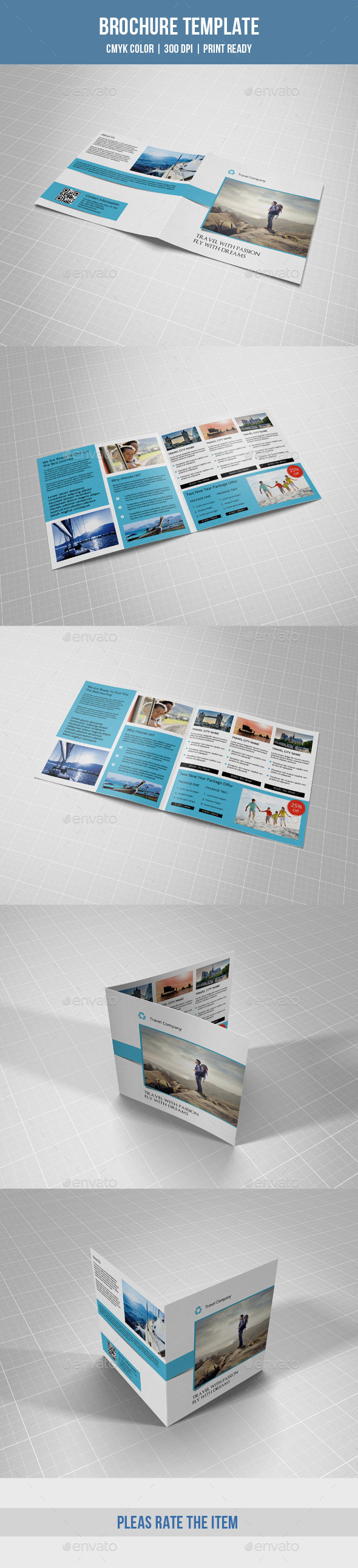 Square Bifold for Travel Agency-V05 - Corporate Brochures