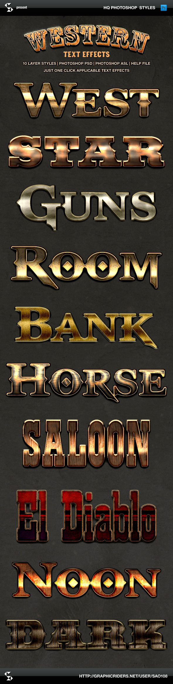 Wild West Style Text Effects - Western Styles - Text Effects Styles