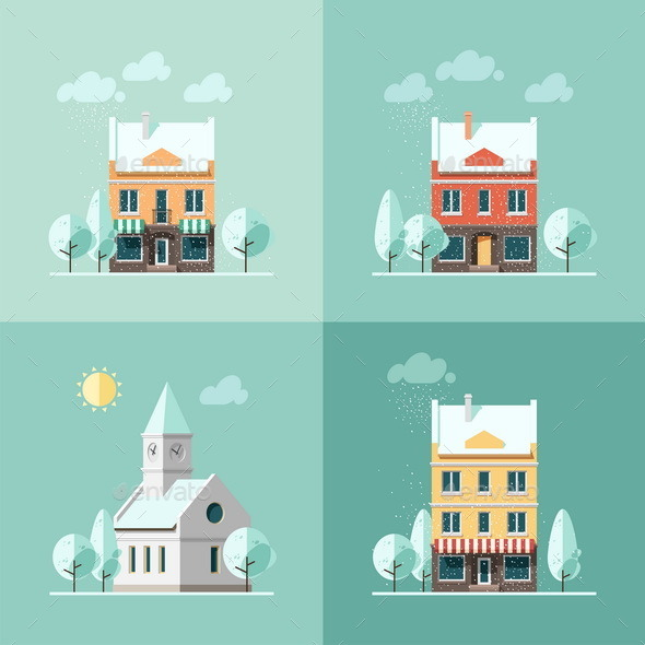 Winter Houses - Buildings Objects