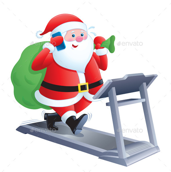 Santa Walking on a Treadmill - Christmas Seasons/Holidays