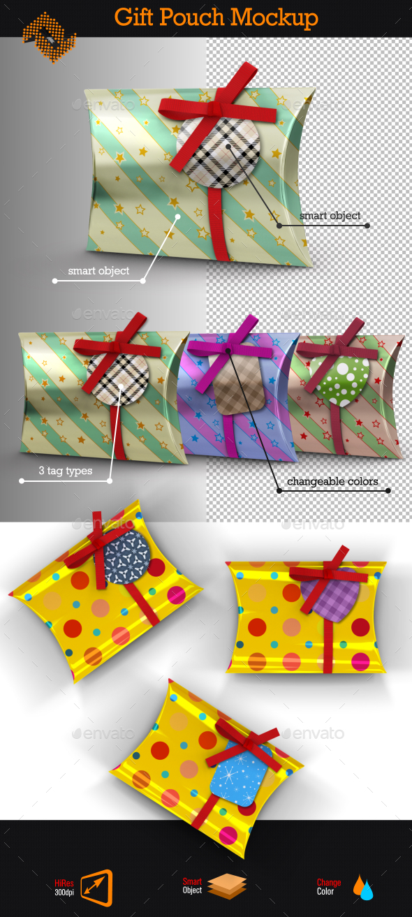 Gift Pouch Mockup - Packaging Product Mock-Ups