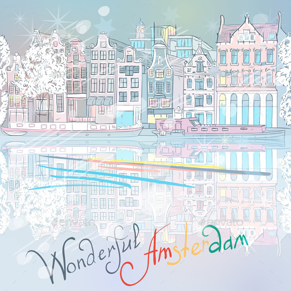 Christmas Amsterdam Canal and Typical House - Travel Conceptual