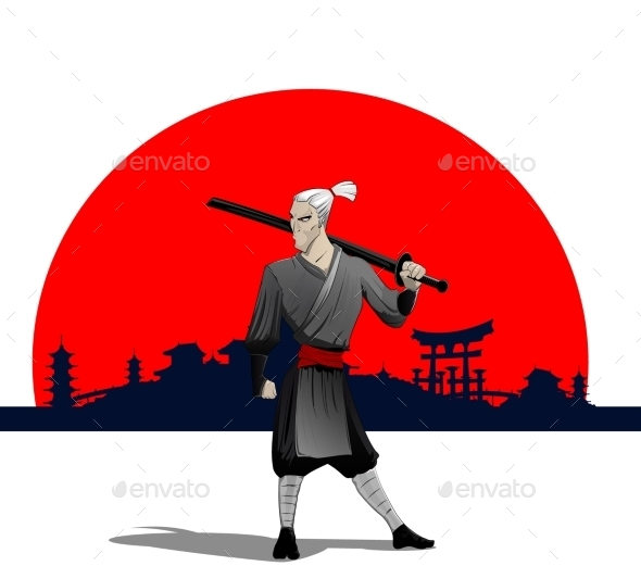 Samurai with Sword - People Characters