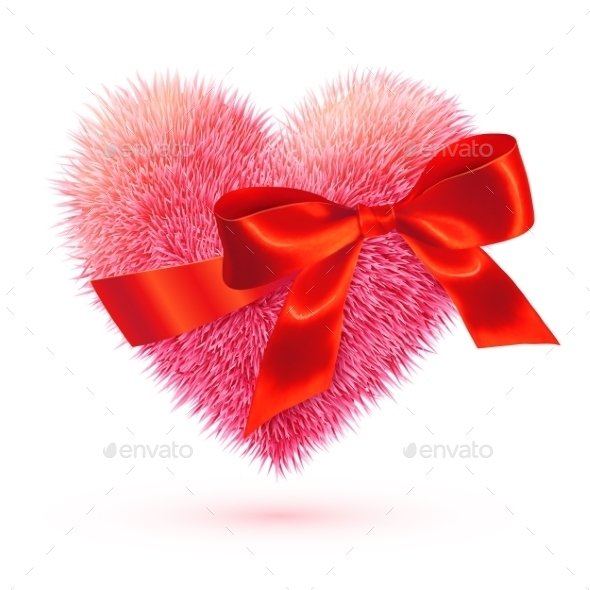 Pink Fluffy Heart with Red Bow - Valentines Seasons/Holidays