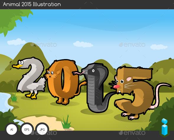 Animal 2015 Text Illustration - New Year Seasons/Holidays
