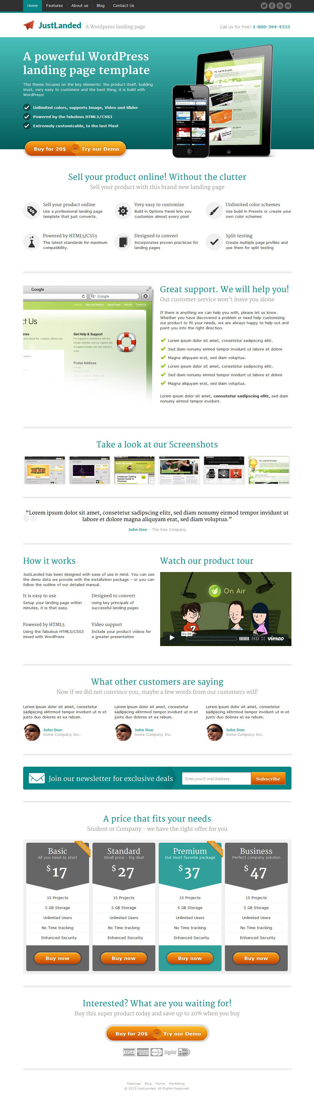 Justlanded Wordpress Landing Page By Shapingrain Themeforest