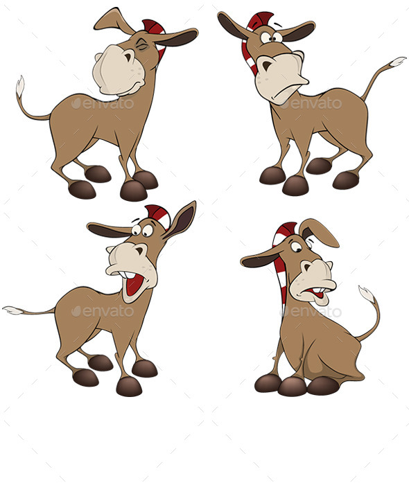 Set of Burros Cartoon  - Animals Characters