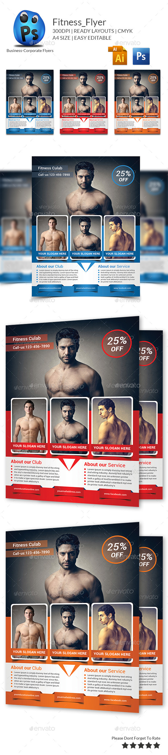 Fitness Flyer Print Templates - Clubs & Parties Events