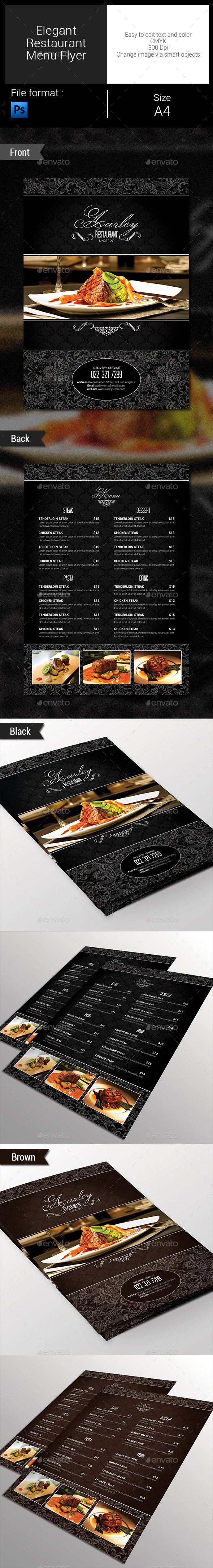 Elegant Restaurant Menu Flyer - Food Menus Print Templates